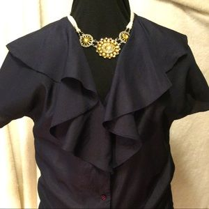 🔥2/$50🔥🦋NWOT🦋NAVY BLUE RUFFLED BLOUSE